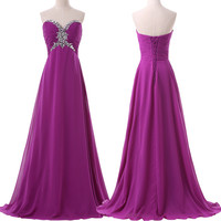Build in Bra Strapless Prom Dresses Women Formal Gowns Purple Bridesmaids Dress Chiffon Long Bridesmaid Dresses for Party 6188