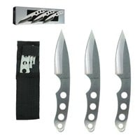 Set 3 Ninja Stealth Silver Throwing Knives with Nylon Case