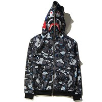 BAPE Women Men Fashion Shark Print Autumn Winter Hoodie Long Sleeve Sweater Top Zipper Coat Jacket-1
