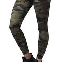 Army Green Camouflage Print Skinny Sports Yoga Workout Long Legging