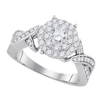 Diamond Bridal Ring with 0.30ct Center Round Stone in 14k White Gold 0.98 ctw