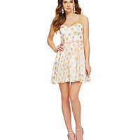 B. Darlin Strapless Floral Sequin Party Dress - White/Rose