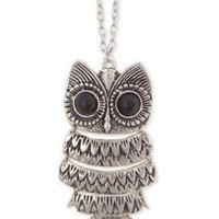 """Lovely Silver color Textured Owl Pendant With 25"""" Chain Vintage Owl Pendant Long Silvered Chain Necklace Clothes:Amazon:Jewelry"""