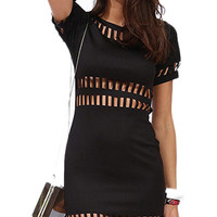 Black Short Sleeve  Mini Dress with Cutout