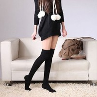 Top Seller Newest Fashion Sexy Socks Cotton Over the Knee Socks Thigh High Stocking Thinner (Black)
