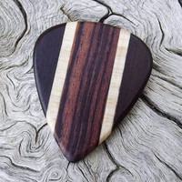 Handmade Multi-Wood Premium Guitar Pick - Actual Pick Shown - No Stock Photos - Artisan Guitar Pick