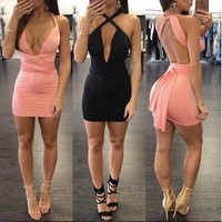 Be Yourself Style Deep V Mini Dress