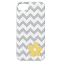 Gray and White Chevron + Yellow Flower iPhone 5 Case from Zazzle.com