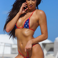 Mini Stars Sexy Micro G String Bikini 2pc Small Triangle Top Mini Thong Minimal Coverage  Patriotic Flag Red White and Blue Exotic Extreme