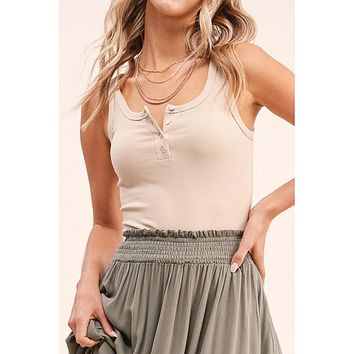 The Cali Ribbed Button Tank in SAND