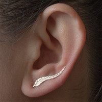 Fashion Personality Metal Leaf Brincos Simple Ear Sweep Wrap Silver Gold Ear Climber Leafs Ear Clip Cuffs Earrings for Women