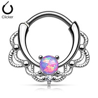 """1 - 16GA (1.2mm) 3/8"""" (10mm) 316L Surgical Steel Brass Lacey Single Opal Septum Clicker Assorted Opal Colors F100 (Purple)"""