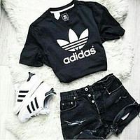 Adidas Fashion Short Shirt Crop Top Tee