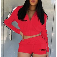 '' FENDI '' Women Long Sleeve Jacket Shorts Set Two-Piece Sportswear