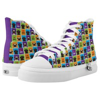 I Love Pugs Color Squares Printed Shoes
