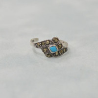 Toe Ring 925 Sterling Silver Marcasite Turquoise Adjustable Midi Knuckle Stackable Statement Ring Tribal Diamond Fine Silver Jewelry - Edit Listing - Etsy