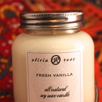 Fresh Vanilla 7oz Natural Soy Wax Jar Candle