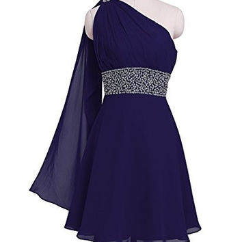 Fashion Simple A-Line One Shoulder Short Sequins Sashes Chiffon Bridesmaid Homecoming Party Dresses LL-362 = 1956744068