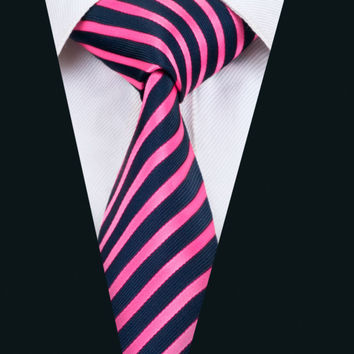 New Arrival Fashion Men`s Tie Rose Red Striped Necktie Silk Jacquard Ties For Men Business Wedding Party