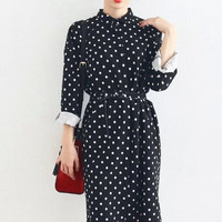 Dotted Drawstring-Waist Collared Button Dress