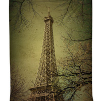 Roll over image to zoom in      Eiffel Tower Fall Scene Tapestry Wall Hanging Artwork for Home in 40 X 60 Inches for Living Room and Dining Bedroom Dorm Room Accessories Paris Decor with Shiny Silky Satin Parisienne Art, Olive Green