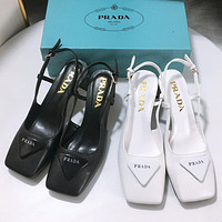 PRADA new product triangle logo ladies square toe sandals high heels Shoes