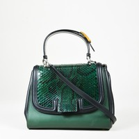 "Fendi Green & Black Leather & Snakeskin Colorblock ""Silvana"" Satchel Bag"