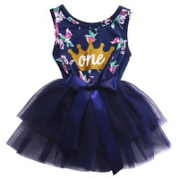 2017 Newborn Baby Girls Sundress Summer Ruffle Tulle Party Dress Clothes baby girl outfit 0-24M