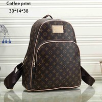 LV tide brand female models wild classic print checkerboard leisure outdoor backpack coffee print