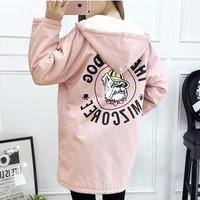 2017 christmas winter women ladies hoodie long fleece fur jacket Mickey friend bulldog print Boyfriend feminina casual coat