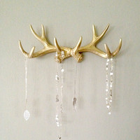 Gold Faux Deer Antler Rack // Jewelry Holder // Scarf Holder // Mug Holder