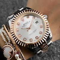 ROLEX Diamonds Women Fashion Quartz Movement Wristwatch Watch