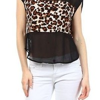 Leopard Duo Print Chiffon Contrast Boxy Loose Fit Cropped Hi-Low Hem Crop Shirt