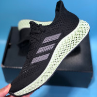 QIYIF Adidas Futurecraft 4D Print 4D Breathable Running Shoes Black