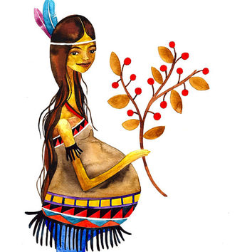 Native American Mother Print Illustration Watercolor Pregnancy Maternity Baby