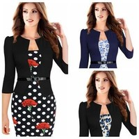 Plus Size Women Lady Elegant Printed Business Office OL Floral Package Hip Dress [9305621831]