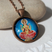 Lakshmi Hindu Goddess of Luck and Wealth,Antique Copper Pendant,Glass Cabochon Pendant With Chain