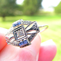 Art Deco Diamond Sapphire Ring, Sweet and Dainty, Old Diamond and Blue Sapphire, Great Detail, Belais Bros, 18K White Gold, Circa 1920s