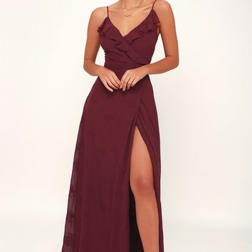Flutter and Flow Burgundy Embroidered Maxi Dress