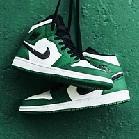 Nike Air Jordan 1 Mid fashion hot seller men and women stitching color high top sports casual board shoes