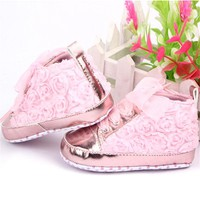 Baby Girls Autumn Shoes Toddler Soft Sole Pink Rose Flowers Children Shoes Infant Lace Shoes