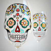 Sugar Skulls - Hand Painted Wine Glasses
