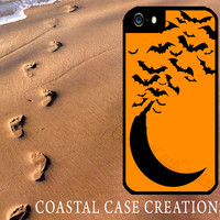 Halloween Moon and Bats Apple iPhone 4 4G 4S 5G Hard Plastic Cell Phone Case Cover Original Trendy Stylish Design