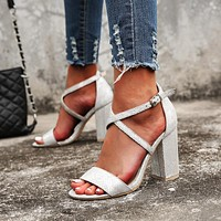 New sandals wild net red thick heel sandals simple word buckle snake print high heel women's shoes