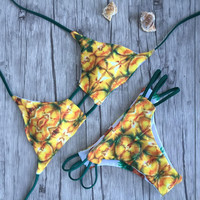 Pineapple Prints Swimwear Halter Bathing Suit Bikinis