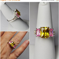 ON SALE Vintage CHARLES Winston 925 Silver, Topaz & Pink Stone Ring, Cw, Three Stone Ring, Openwork, Size 7 1/2, Eye Popping Colors #b063