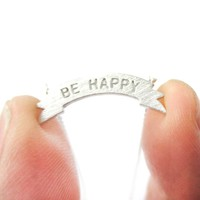 Engraved Be Happy Mini Banner Bar Motivational Charm Necklace in Silver   DOTOLY