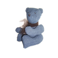 Upcycled Denim Teddy Bear - Made from Recycled Blue Jeans - ON SALE
