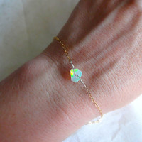 Rough Opal Bracelet or Anklet and 14/20 Rose Gold; 14k Gold Fill; 925 Sterling Silver; Oxidized Sterling Silver Chain Charm