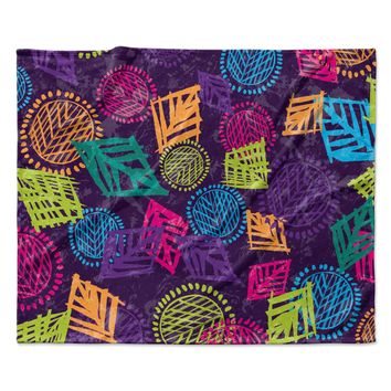 "Emine Ortega ""African Beat Purple"" Fleece Throw Blanket"